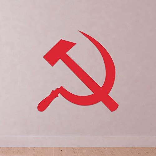 zhuziji Martillo y Hoz Símbolo Vinilo Tatuajes de Pared Rusia Unión Soviética Comunismo Decoración para el hogar Accesorios para Sala de estar63x63cm