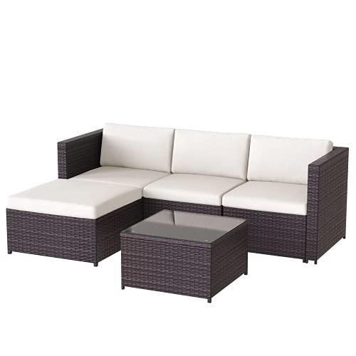 Polyrattan Balkonmöbel Loungemöbel Set, Lounge Gartenmöbel Set für 4 Personen, Sitzgruppe Garten mit Sitz- und Rückenkissen, Lounge-Tisch mit Glasplatte, Lounge Sofa Set für Balkon Terrasse (Braun)