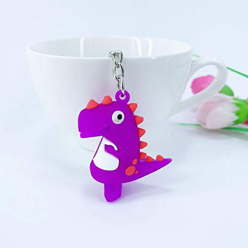 YTYASO Lindo Llavero de Dibujos Animados Regalo Mochila para niños Dinosaurio pequeño Colgante PVC Mini Dinosaurio Llavero de Coche Regalo de cumpleaños para niños