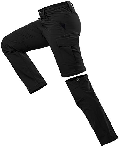 Vzteek Herren Wanderhose Zip Off Trekkinghose Outdoorhose Sommer Softshell Stretch Hose Kurz für Wandern,Baggy,Fahrrad,arbeits (Dunkles Schwarz, S)