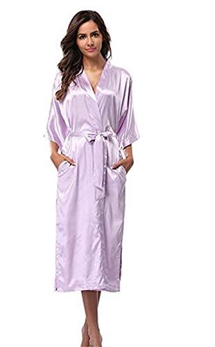 IAMZHL Bata de Dama de Honor Larga de satén de Seda para Mujer, Bata de Kimono, Bata de baño Femenina, Bata de baño de Talla Grande XXXL, Bata Sexy para Mujer-lavender-9-XXXL