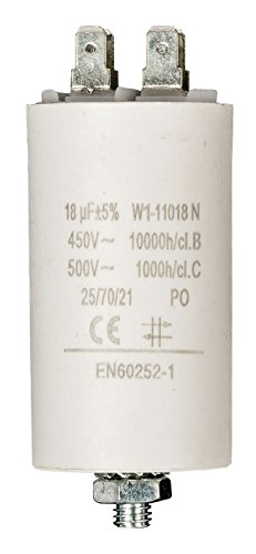 Eurosell Premium Kondensator Betriebskondensator Motorkondensator Anlaufkondensator Arbeitskondensator Steckeranschluss ohne Kabel 18 µF / 450 v + Earth