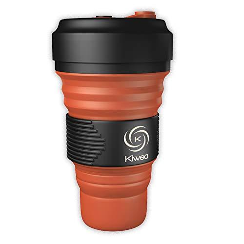 Kiwea faltbarer BPA freier Silikon Kaffeebecher mit Schraubverschluss Karabiner 550ml orange