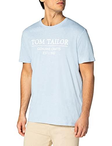 Tom Tailor 1021229 Basic Logo Camiseta, 26724 Dusk Blue White Melangé - Juego de Mesa de Mezcla, Color Azul y Blanco, L para Hombre