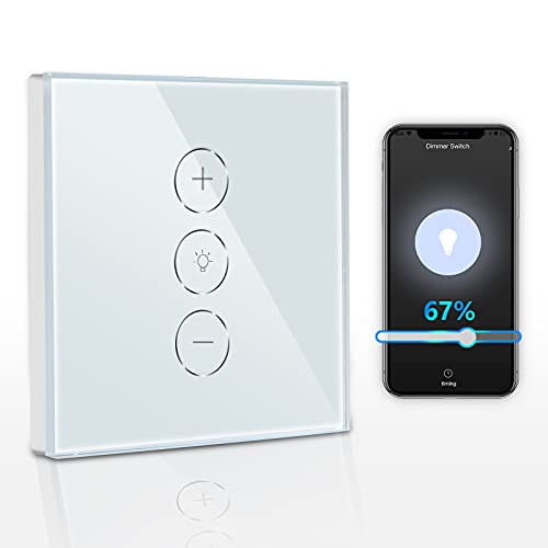 TEEKAR Smart Alexa Dimmer Schalter, Prozent Funktion WiFi LED Dimmer with Timing Function, Voice APP Steuerung WLAN Dimmer Lichtschalter Unterputz Compatible with INC CFL LED Lampen