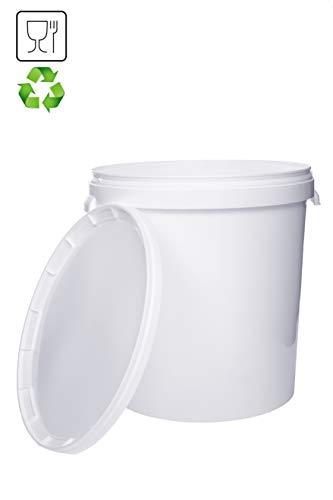 Eimer mit Deckel | Weiß 30L | Kunststoffeimer Deckel Henkel Lebensmittelecht Hochwertiger (1x 30 Liter)