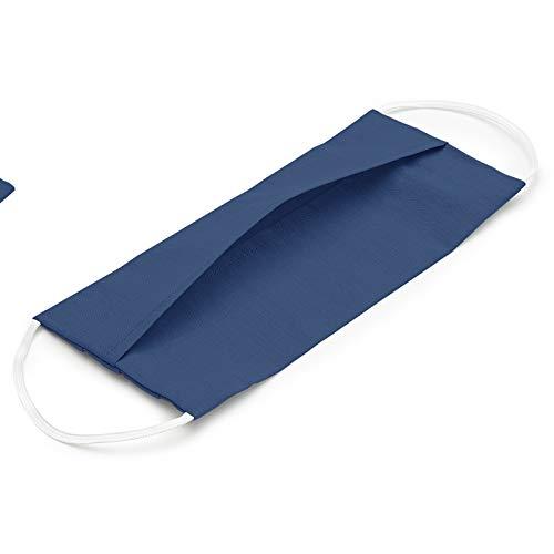 EllaTex 5er Pack Mund-Nasenschutz Masken/Atemschutz Maske Behelfsmaske Baumwolle WASCHBAR WIEDERVERWENDBAR in 10 Farben verfügbar, Farbe:Jeans - 4