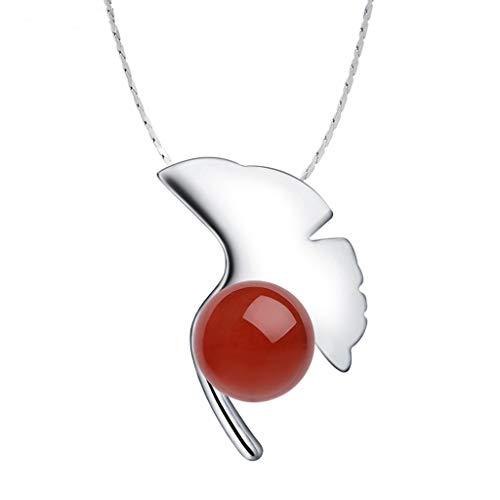 wanhaishop Jewelry Necklaces Monili delle Donne Personalizzata collane Red Agate Pendant Ginkgo Biloba for la Ragazza Teenager Donne Moglie Ragazza Amici Regalo Women s Pendants