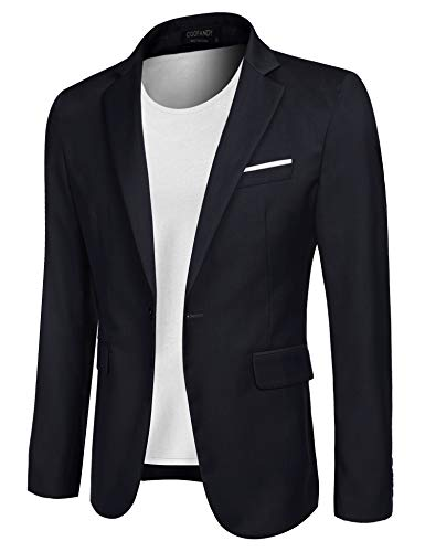 COOFANDY Men's Casual Blazer Jacket Slim Fit Sport Coats Lightweight One Button Suit Jacket (Navy Blue, Medium+)