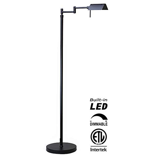 O'Bright Dimmable LED Pharmacy Floor Lamp, 10W LED, All Range Dimming, 360° Swing Arms, Adjustable Heights, Standing Lamp for Reading, Sewing, and Craft, ETL Listed, Black