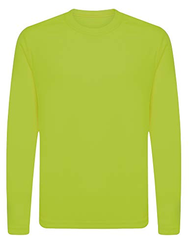 OPNA Youth Athletic Performance Long Sleeve Shirts for Boys or Girls-Moisture Wicking, Large, Lime