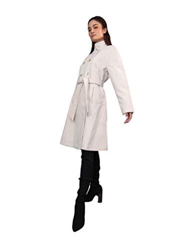 Damen Mantel in beige mit Stehkragen Taillengürtel (Größe L)