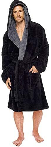 MICHAEL PAUL Herren-Bademantel mit Kapuze und ohne Kapuze, weich, einfarbig Gr. M, schwarz / grau