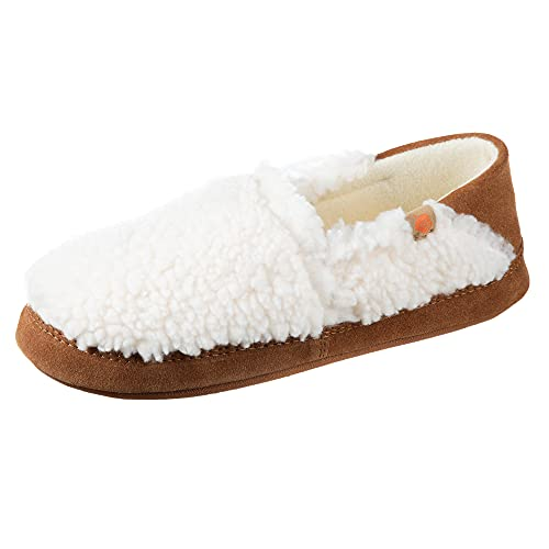 Acorn Women's Moc Slipper with a Collapsible Suede Heel and Warm Micro-Fleece Lining, Buff Popcorn, 6.5-7. 5