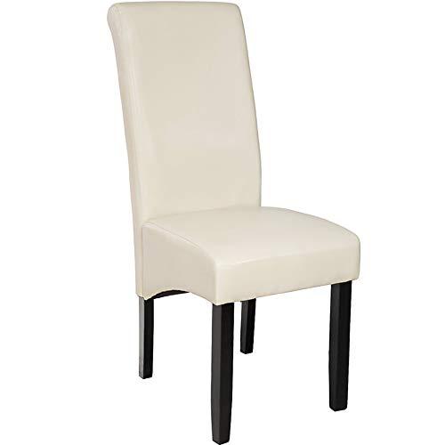 TecTake Edler Esszimmerstuhl aus Kunstleder | Stuhl mit hoher Rückenlehne | qualitativ hochwertig | Stuhlbeine aus Hartholz massiv | 106 cm hoch - diverse Farben - (Creme | Nr. 400556)