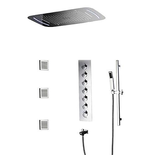 Buy Cheap RuiXia Into The Wall 7 Function Constant Temperature Skylight LED Top Spray Shower Set Dar...