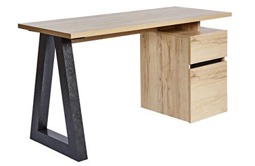 Amazon Marke -Movian Stanberg - Schreibtisch mit einer Schublade und 1 Tür, 140x55x76cm, Eiche-/Beton-Effekt