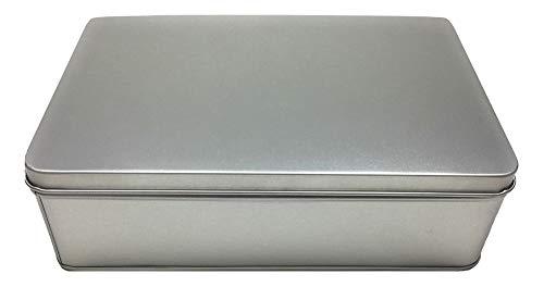 Balna 1 Stück Vorratsdose Gebäckdose Keksdose rechteckig Metallbox klein mit Deckel aus Weissblech, Metall Geschenkdose 19,7 cm x 12,8 cm x 6,0 cm