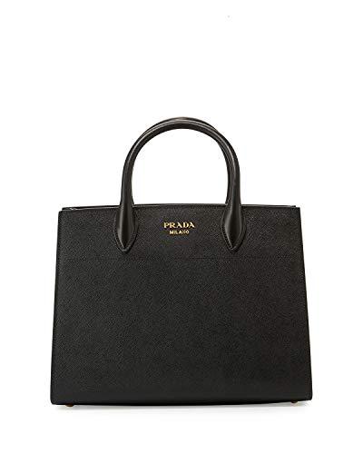 Prada Bibliothèque Tote Saffiano City Leather Black and White Handbag 1BA049