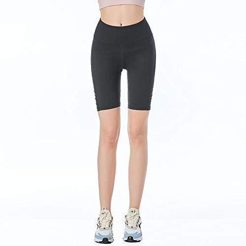 Caliente en Europa y América,High Elastic Hip-Lift Fashion Pantalones de Yoga Ajustados Mujeres Pantalones Cortos de Yoga sin Fisuras-Negro_Metro