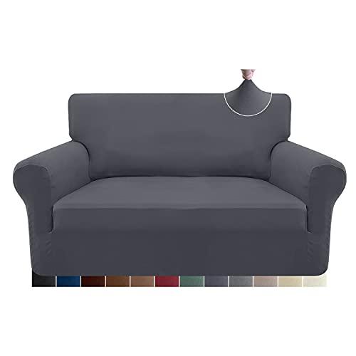 Granbest Stretch 2 Sitzer Bezug sofaüberwurf weicher Mikrofaser Couchbezug Rutschfester Sofabezug Elasthan Couch überzug Möbelschutz für Hunde, Haustiere (2 Sitzer, Grau)