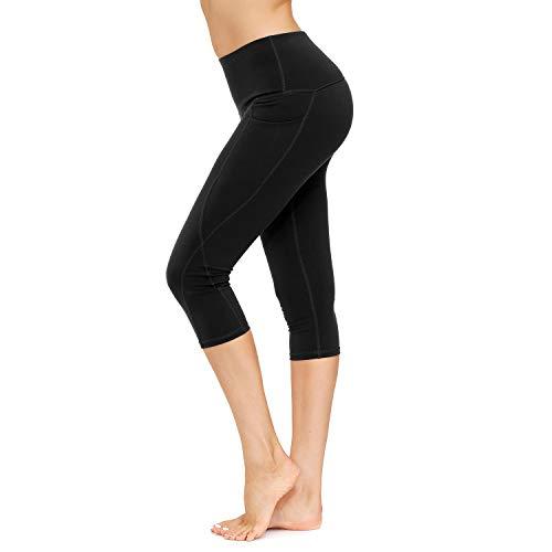 HMIYA Sporthose Damen, Sport Leggings Blickdicht Fitnesshose Tights Yoga Hose mit Taschen(3/4 Schwarz,M)