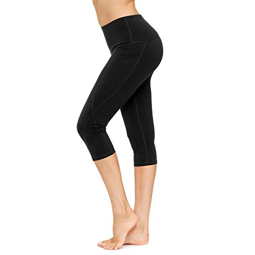 HMIYA Sporthose Damen, Sport Leggings Blickdicht Fitnesshose Tights Yoga Hose mit Taschen(3/4 Schwarz,L)