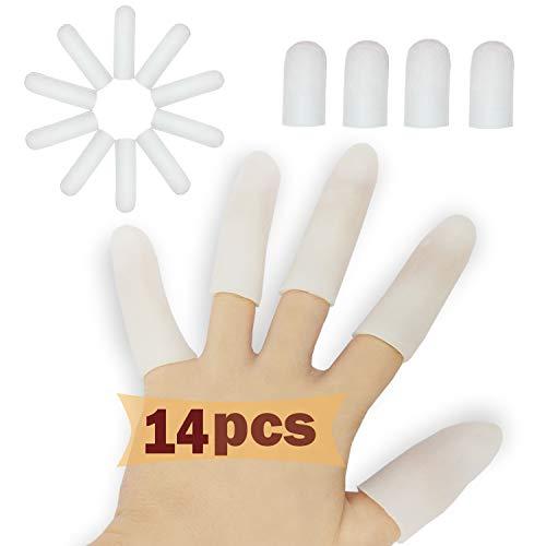 Protectores de dedos de gel (14 piezas), Nuevo Material, Mangas de dedo, Ideal para gatillo de dedo, mano Eczema, dedo agrietado, dedo artritis y mucho más.(Blanco)