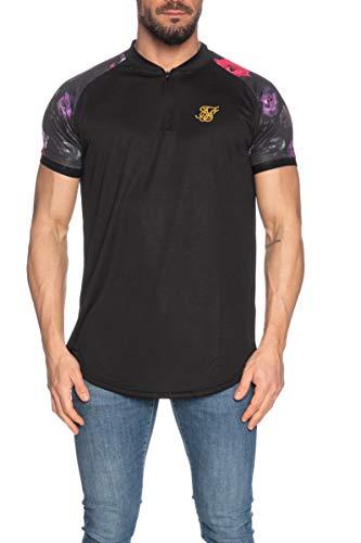 SikSilk - Camiseta de manga corta para hombre, color negro