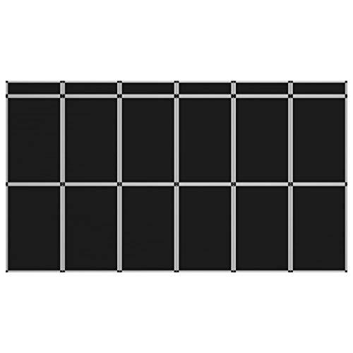 vidaXL 18-Panel Messewand Faltdisplay Stellwand Messestand Faltwand Messetafel Promotionswand klappbares Display Raumteiler 362×200 cm Schwarz