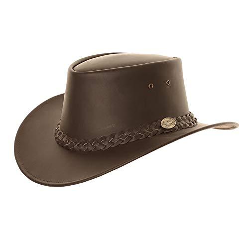 Chapeau de cowboy en cuir marron de style australien. - Marron - X-Large