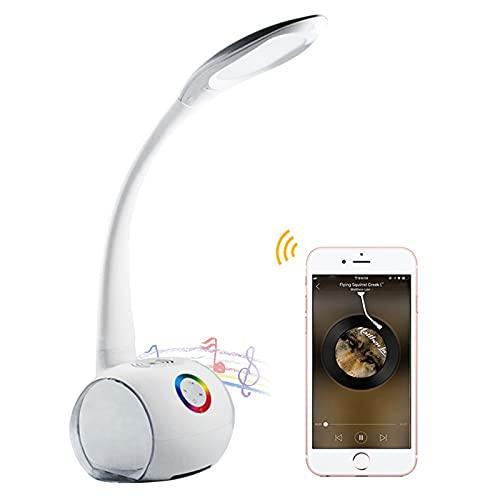 HENY Control Tátil LED Lámpara De Flexo Escritorio,con Altavoz Bluetooth Colorido Cuidado De Ojos Regulable,con Cargador Inalámbrico,para Oficina Casa(Clase De Eficiencia Energética A++-Un