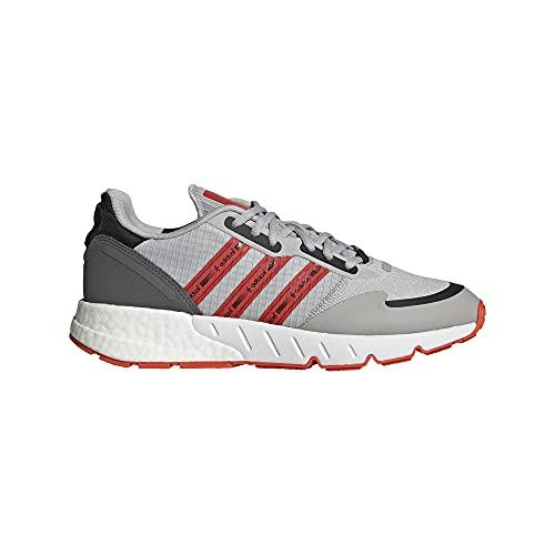 adidas ZX 1k Boost, Zapatillas para Correr Hombre, Grey Two Semi Solar Red FTWR White, 43 1/3 EU