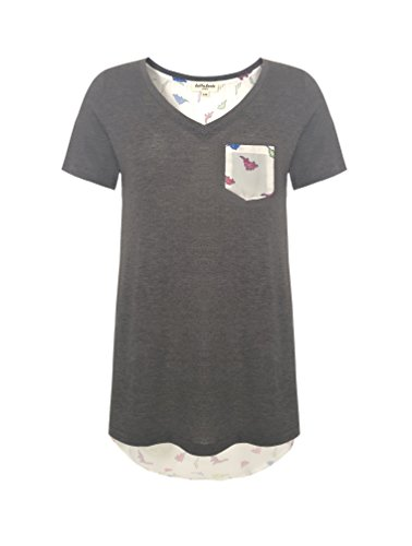 LaVieLente Women's Pocket V-Neck T-Shirt with Crayon Drawing Dinosaur or Artsy Botanical Pattern (Grey, Small/Medium)