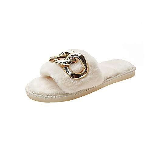 NUGKPRT chanclas,Zapatillas de cadena de metal, diapositivas, zapatos de interior para el hogar, piso completo para dormitorio, cómodas mujeres, antideslizante 38-39 (23.5-24cm) beige