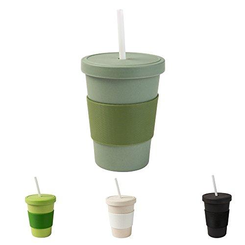 BIOZOYG Coffee to go Becher 400 ml mit Schraubdeckel und Trinkhalm tannengrün