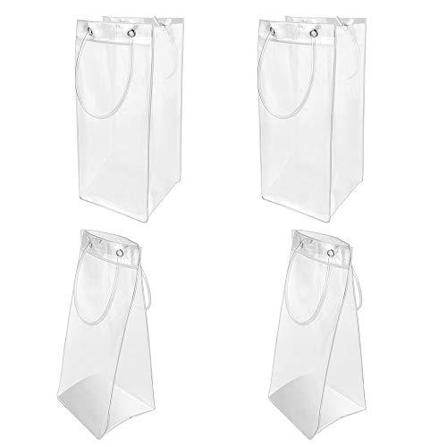 4 PCS Transparente Kühltasche PVC Champagner Eisbeutel Sektkühler Bag mit Griff Auslaufsichere Flaschenkühler Champagner Wein Ice Bag für Camping, Tavernen, Restaurants, Party