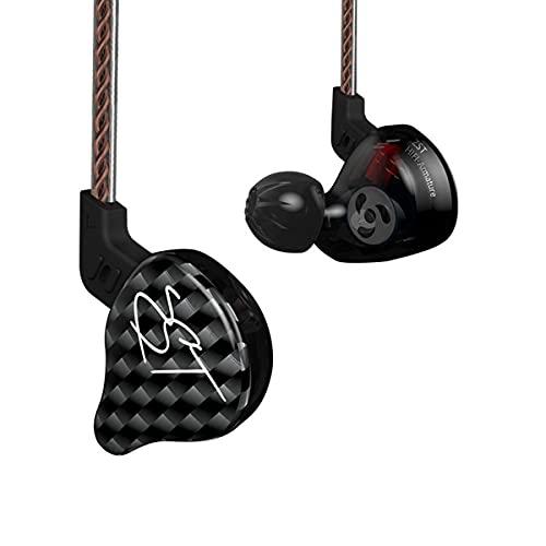 Yinyoo Auriculares híbridos KZ ZST Balanced Armature + Dynamic Dual Driver estéreo en Auriculares con Oreja HiFi Auriculares intrauditivos Bajos (sin micrófono)