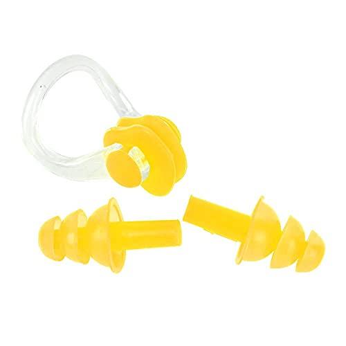 JYLSYMJa Tapones para los oídos para natación, 4 Tapones para los oídos de Silicona Reutilizables Impermeables para Nadar con Caja(Amarillo)