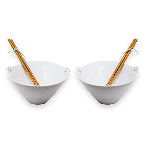 ToCi Bowl-kom voor Aziatische soepen, pasta, of rijstgerechten met herbruikbare eetstokjes, geschikt voor magnetron en vaatwasser.