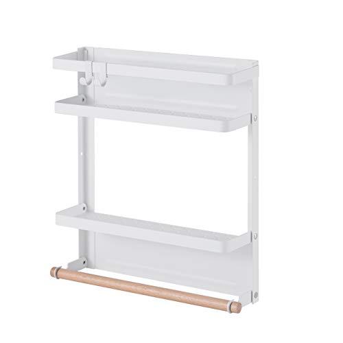 KES Magnet Gewürzregal Küche Küchenregal ohne Bohren Gewürzregale Kühlschrank Regal Gewürz Regale Organizer mit Küchenrollenhalter 2 Ebenen Weiß, KRR501B-WH