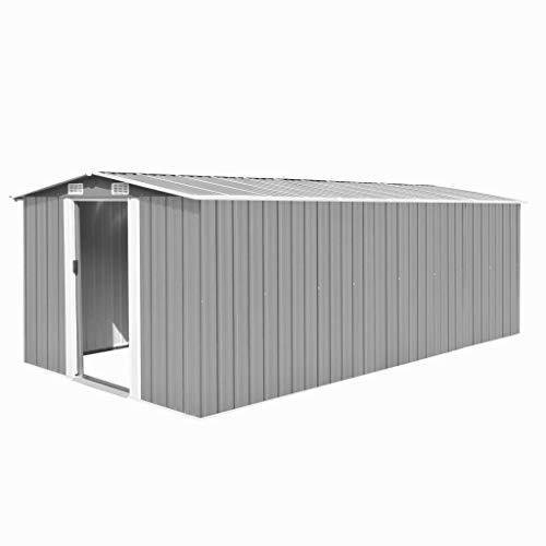 Irfora Garden Shed Metal Storage Shed Storage House with Double Sliding Doors 257x497x178 cm Metal Grey