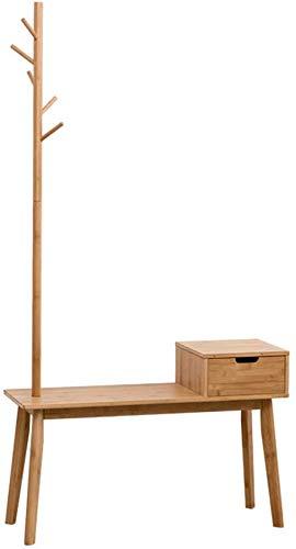 FF Hall meubels Nordic stijl kapstok Kleren standaard en schoenenrek Een vloer staande ontwerp Bamboe kapstok voor thuisgebruik Schoenkast met laden Entreecompartiment Kruk voor houten schoenen