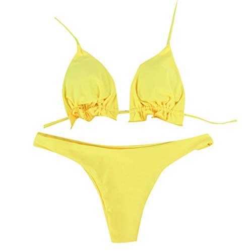 KPILP Frauen Bademode Bandeau Bandage Solide Bikini Set Push-Up Brasilianische Beachwear Badeanzug Badetuch(Gelb,L)
