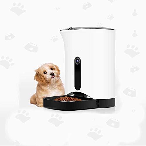 Scra AC Capacidad Media 4,3 L Perro Gato BLU-Ray Pantalla LCD Alimentador Automático Grabación WiFi Teléfono Móvil App Inteligente Alimentador De Mascotas Multifunción Blanco (Color : White)