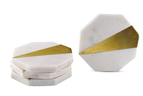 GoCraft CC0184-RM] Untersetzer aus Messing und Marmor, handgefertigt, geometrisch, Weiß Marmor mit Messing-Inlay für Ihre Getränke, Getränke und Wein/Bar Gläser (4 Stück)