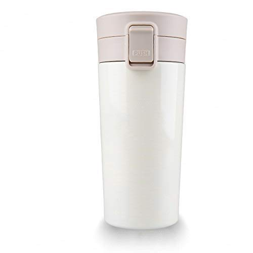 Addmluck Taza térmica de café One Click, botella a prueba de fugas, termo de café para llevar, de acero inoxidable, con tapa, 380 ml, color blanco