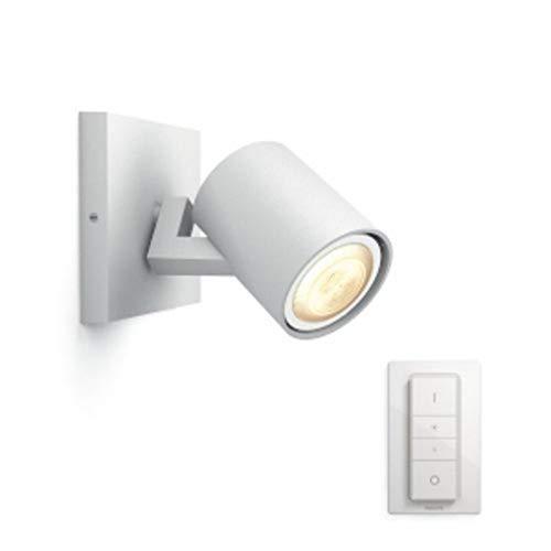 Philips Lighting Hue Runner White Single, Faretto LED Singolo con Dimmer Incluso, GU10, 5.5 W, Bianco, 11 x 9 x 10.9 cm