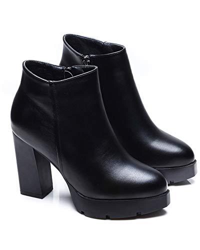 [チェリーレッド] レディース 厚底 太ヒール ブーツ ショートブーツ 歩きやすい シンプル ブーティ サイドファスナー 35 ブラック