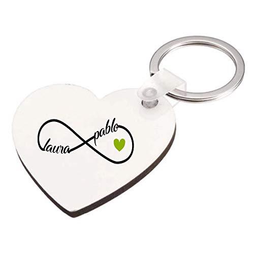Kembilove Llavero Personalizado Pareja con Nombres - Llavero Personalizado Forma corazón con el Signo del Infinito con Nombres Color Verde - Regalo Romántico Pareja, San Valentín, Aniversario